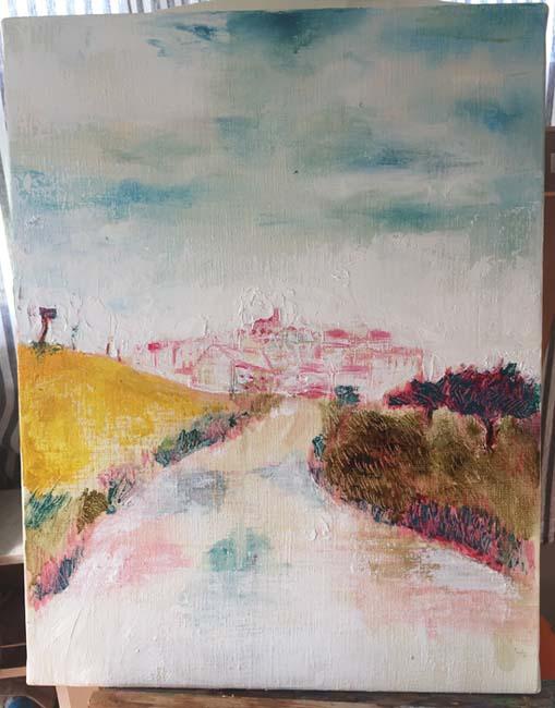 巡礼路を描いた油絵
